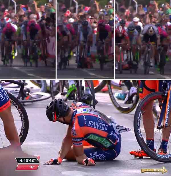 Giro d'Italia 2015: Stage 6 - Daniele Colli crash